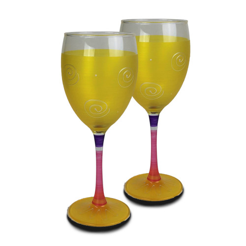 Set of 2 Yellow and Pink Hand Painted Wine Drinking Glasses 10.5 oz. - IMAGE 1