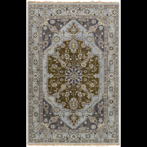 9' x 13' Mediterranean Wonder Charcoal Gray and Ivory White Hand Knotted New Zealand Wool Area Throw Rug - IMAGE 1
