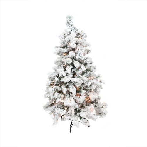 9' Pre-Lit Heavily Flocked Pine Medium Artificial Christmas Tree - Clear Lights - IMAGE 1