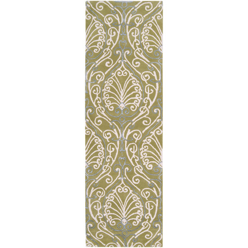 2.5' x 8' Green and White Arabesque Pattern Wool Area Throw Rug Runner - IMAGE 1