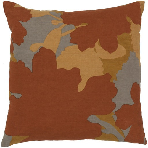 """22"""" Orange and Gray Floral Camouflage Square Throw Pillow - Down Filler - IMAGE 1"""