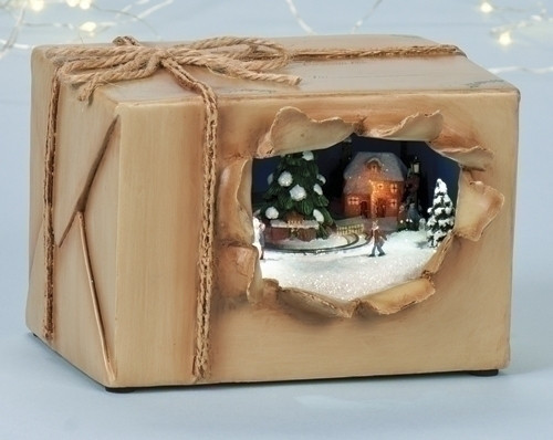 "6"" Brown and White LED Lighted Musical Amusement Scenic Tabletop Christmas Package - IMAGE 1"