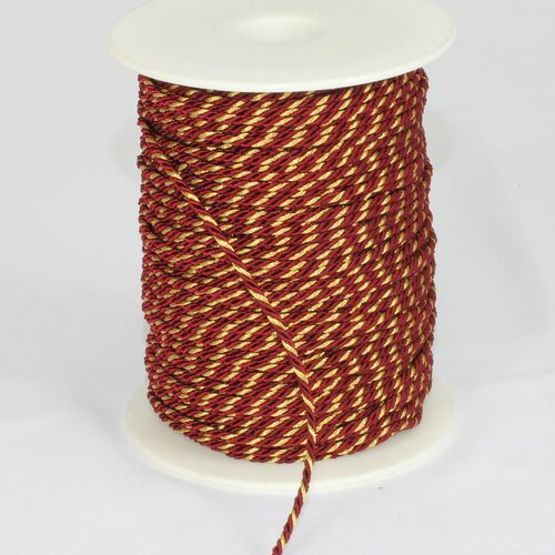 "Burgundy Red with Gold Wired Craft Ribbon 0.25"" x 110 Yards - IMAGE 1"