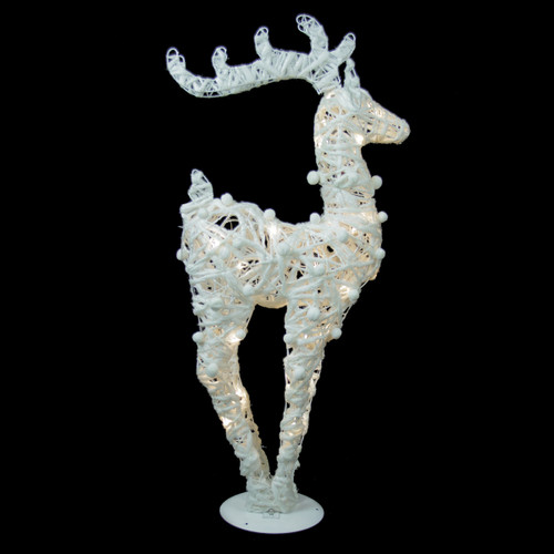 """30"""" White and Silver Battery Operated LED Lighted Reindeer Christmas Decor - IMAGE 1"""