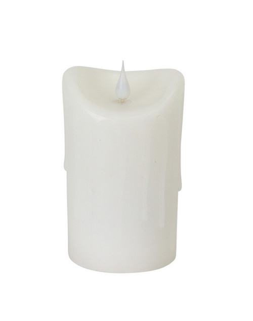 """5.25"""" Pre-Lit White Battery Operated Dripping Flameless LED Pillar Candle - IMAGE 1"""