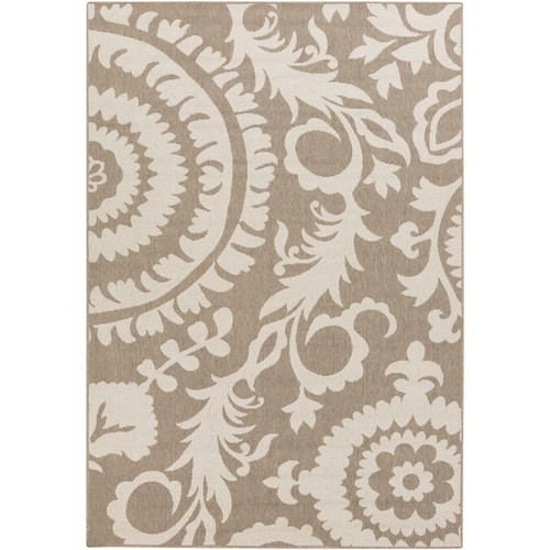 8.75' x 12.75' Beige and Taupe Brown Floral Shed-Free Rectangular Area Throw Rug - IMAGE 1