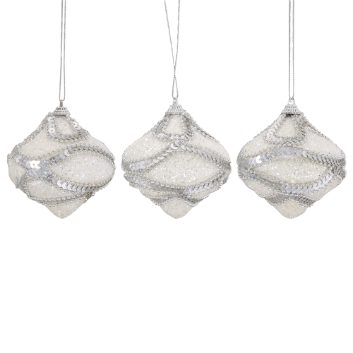 """3ct White and Silver Shatterproof Christmas Onion Ornaments 3"""" - IMAGE 1"""