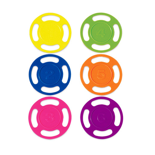 """Set of 6 Vibrantly Colored Swimming Pool Dive Disks 4"""" - IMAGE 1"""