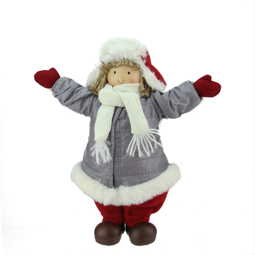 """12"""" Red and Gray Young Boy Gnome with Hat Christmas Figurine - IMAGE 1"""