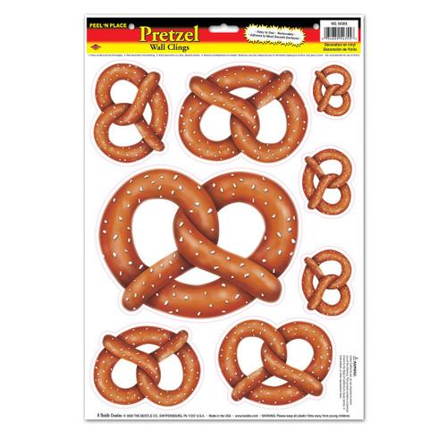 "Club Pack of 96 Brown Oktoberfest Pretzel Peel 'N Place Party Decors 17"" - IMAGE 1"