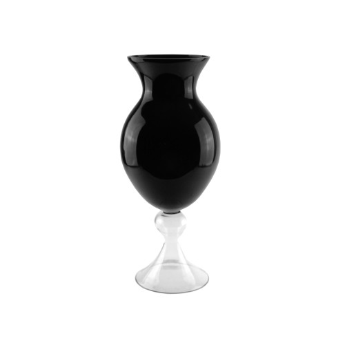 "20"" Jet Black and Clear Solid Glass Finial Flower Vase - IMAGE 1"