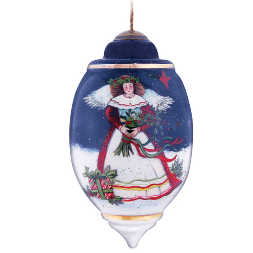 """7.5"""" Blue Eve Blessings Hand-Painted Glass Christmas Blown Ornament - IMAGE 1"""