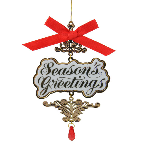 "4"" Carlton Heirloom Season's Greetings Christmas Ornament - IMAGE 1"