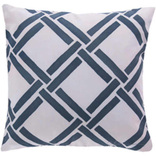 """20"""" Navy Blue and Beige Geometric Square Throw Pillow Cover - IMAGE 1"""