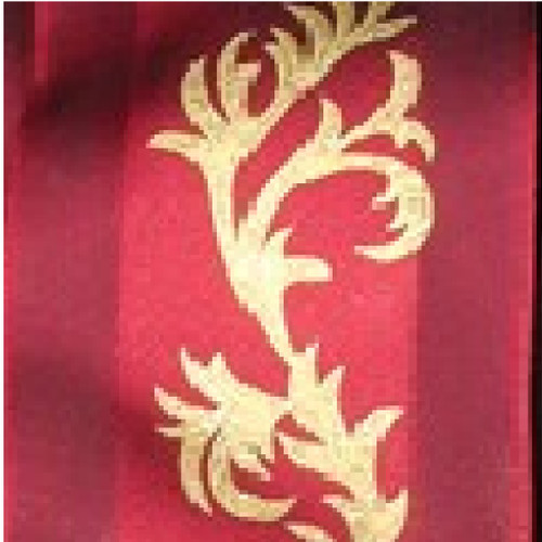"Burgundy Red and Gold Wired Craft Ribbon 2.5"" x 27 Yards - IMAGE 1"