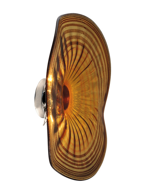 """20"""" Brown and Amber Bands Handover Hand Crafted Glass Flush Mount Wall Sconce Light Fixture - IMAGE 1"""