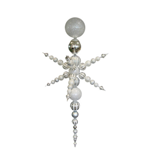 """White and Silver Radical 3-Finish Shatterproof Christmas Snowflake Finial Ornament 76"""" - IMAGE 1"""