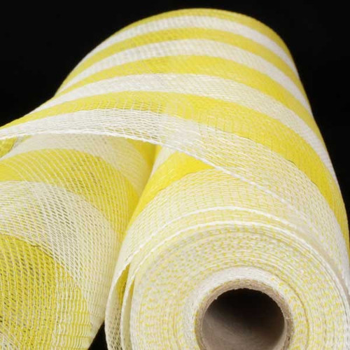 "White and Yellow Checkered Pattern Decorating Mesh Craft Ribbon 21"" x 40 Yards - IMAGE 1"
