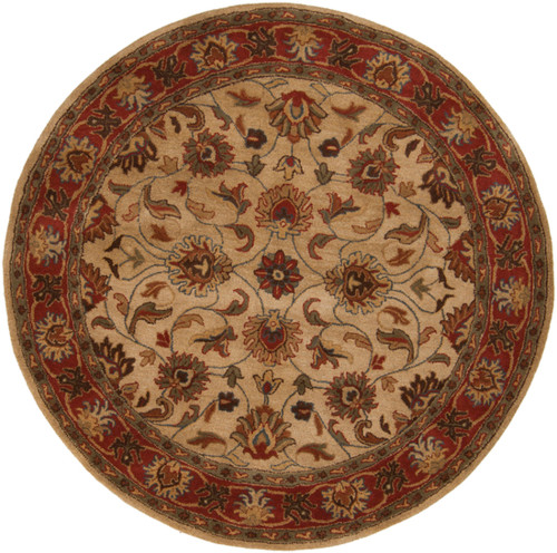 6' Brown and Beige Traditional Hand Tufted Round Area Throw Rug - IMAGE 1