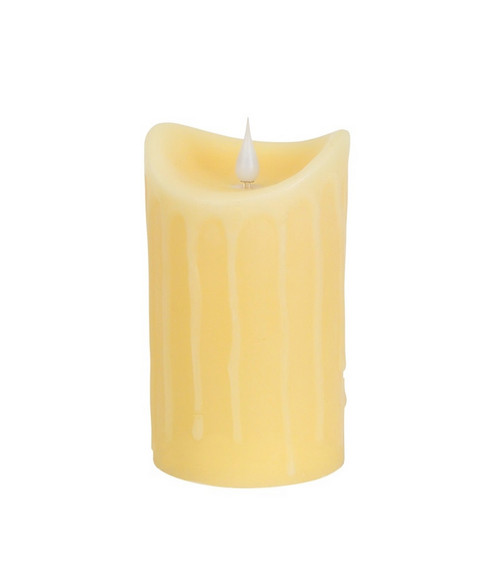 "5"" Pre-Lit Ivory Battery Operated Flameless LED Pillar Candle - IMAGE 1"