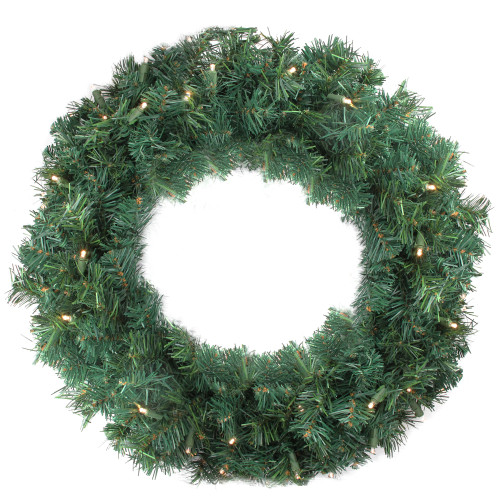 Pre-Lit LED Cedar Pine Artificial Christmas Wreath - 24-Inch, Warm Clear Lights - IMAGE 1