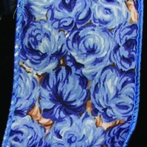 """Blue Roses Wire Edged Craft Ribbon 2"""" x 40 Yards - IMAGE 1"""
