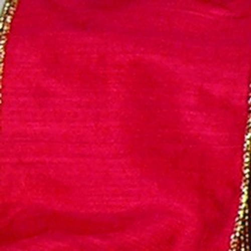 """Red and Metallic Gold Wired Craft Ribbon 2"""" x 40 Yards - IMAGE 1"""