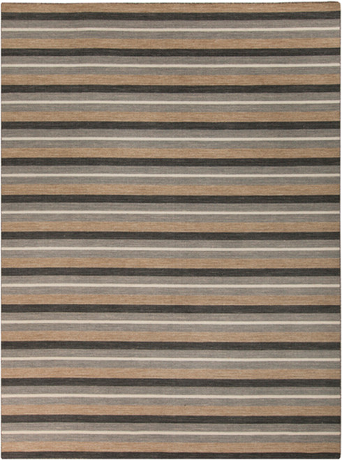 8' x 11' Black and Gray Contemporary Hand Woven Rectangular Wool Area Throw Rug - IMAGE 1