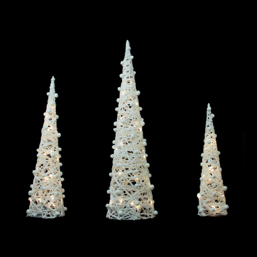"""Set of 3 Battery Operated White and Silver LED Lighted Cone Tree Christmas Decoration 39.25"""" - IMAGE 1"""