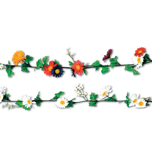Club Pack of 12 Vibrantly Colored Artificial Silk Daisy Flower Garlands 6' - IMAGE 1