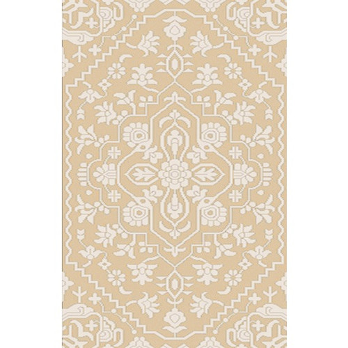 8' x 10' Floral Brown and Cream White Hand Knotted Rectangular Wool Area Throw Rug - IMAGE 1