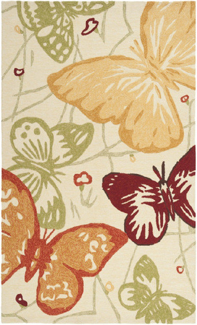 1.5' x 1.5' Butterfly Dream Orange Hand Hooked Shed-Free Throw Rug Corner Sample - IMAGE 1