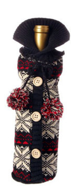 """11"""" Alpine Chic Black, Cream and Red Snowflake Nordic Design Knit Christmas Wine Bottle Cover - IMAGE 1"""