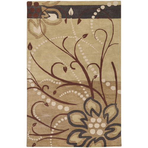 5' x 8' Tan Brown and Beige Hand Tufted Rectangular Wool Area Throw Rug - IMAGE 1
