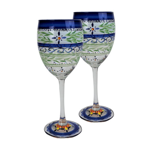 Set of 2 Blue Floral Hand Painted Wine Drinking Glasses 10.5 oz. - IMAGE 1