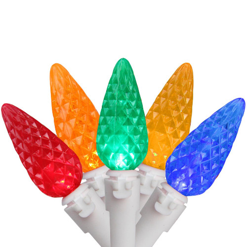 50 Multi-Color Faceted LED C6 Mini Christmas Lights - 16.3 ft White Wire - IMAGE 1