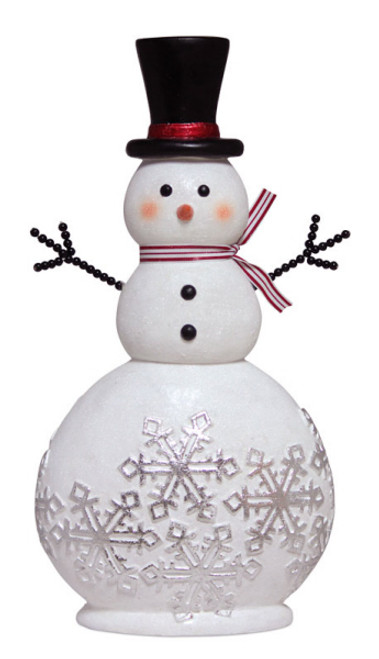 """20"""" White and Black Glittered Snowman Adorned with Snowflakes Christmas Tabletop Decor - IMAGE 1"""