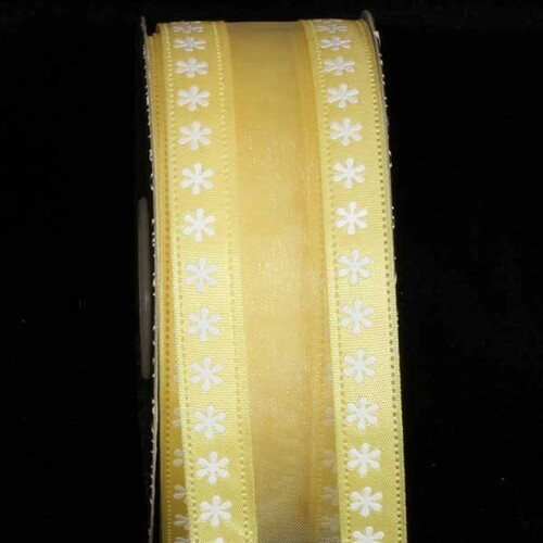 """Yellow and White Floral Wired Craft Ribbon 1.5"""" x 40 Yards - IMAGE 1"""