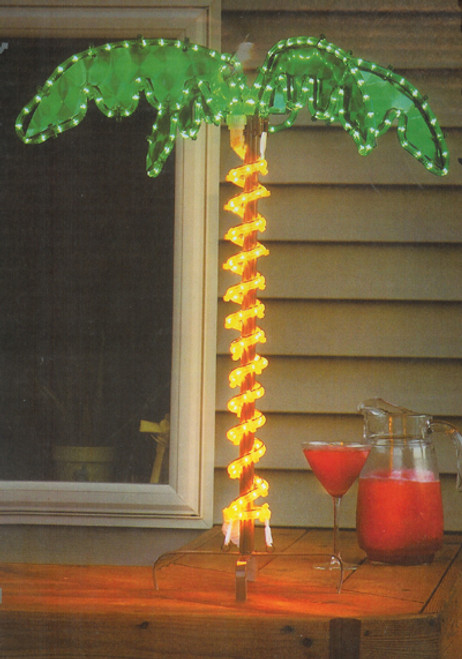 """30"""" Tropical Lighted Holographic Rope Light Outdoor Palm Tree Yard Decoration - IMAGE 1"""