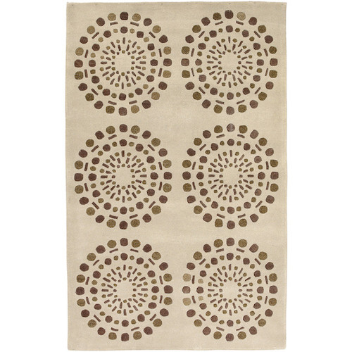 9' x 13' Asian Lotus Beige and Brown New Zealand Wool Area Throw Rug - IMAGE 1