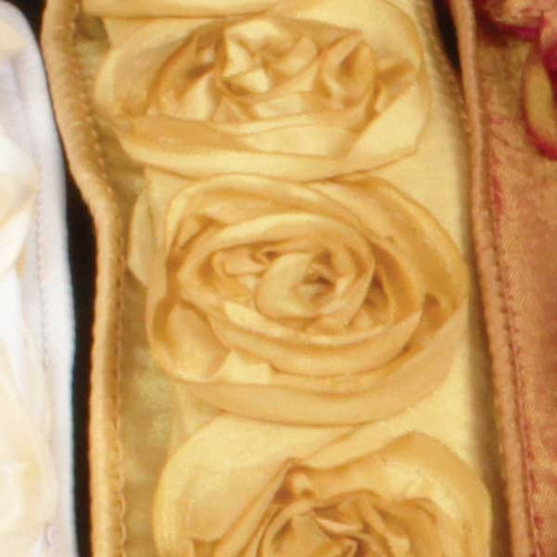"""Gold Contemporary Roses Wired Craft Ribbon 1.5"""" x 10 Yards - IMAGE 1"""
