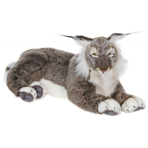 """27.5"""" Gray and White Handcrafted Lynx Cat Stuffed Animal - IMAGE 1"""