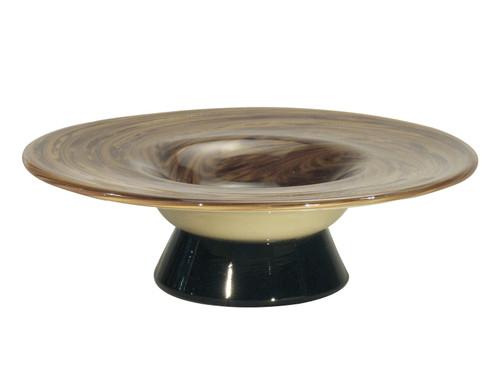 "12"" Metallic Gold, Coco Brown, and Cream San Felipe Decorative Hand Blown Glass  Bowl - IMAGE 1"