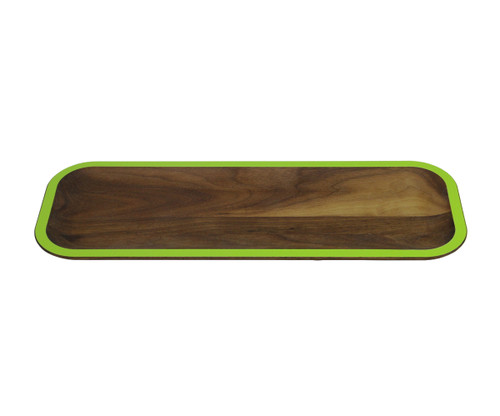 """15"""" Green and Brown Handcrafted Rectangular Serving Tray - IMAGE 1"""