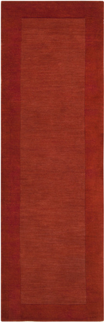 2.5' x 8' Solid Burnt Orange Hand Loomed Rectangular Wool Area Throw Rug Runner - IMAGE 1