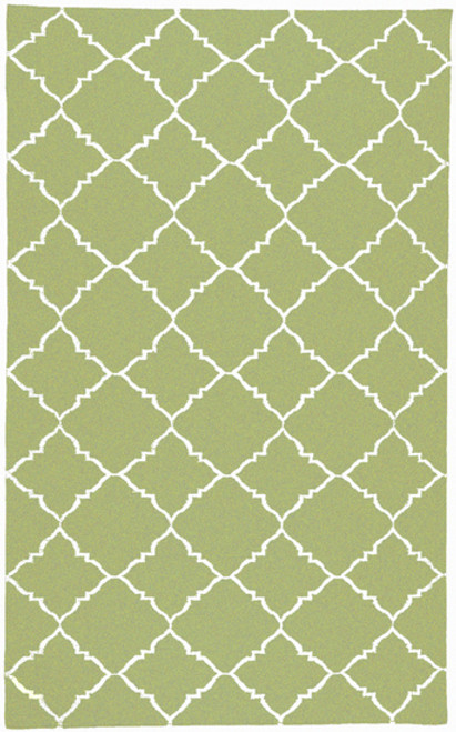 2' x 3' Green and Ivory Hand Woven Rectangular Wool Area Throw Rug - IMAGE 1