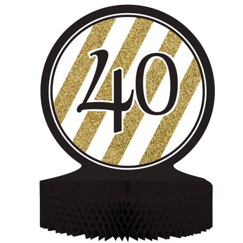 """Pack of 6 Gold and Black """"40"""" Honeycomb Party Centerpiece Decoration 13.5"""" - IMAGE 1"""