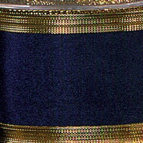 """Blue Navy and Gold Edge Wired Craft Ribbon 2.5"""" x 27 Yards - IMAGE 1"""