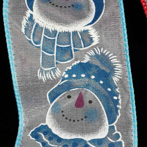 "White and Blue Happy Snowman Wired Ribbon 2.5"" x 20 Yards - IMAGE 1"