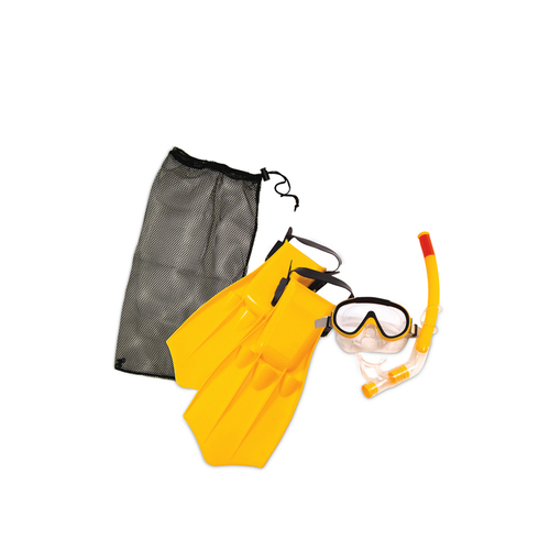 "6"" Yellow Caribbean Junior Swimming Pool Scuba Snorkeling Medium Set - IMAGE 1"